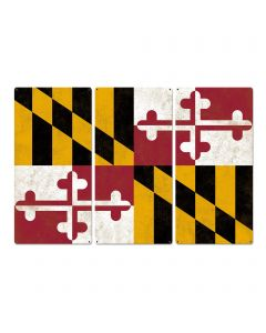 "Maryland State Flag, Go to Maryland, Triptych Metal Sign, Wall Decor, Wall Art, Vintage, 54""x36"""