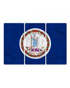 """Virginia State Flag, Virginia is for Lovers, Triptych Metal Sign, Wall Decor, Wall Art, Vintage, 54""""x36"""""""