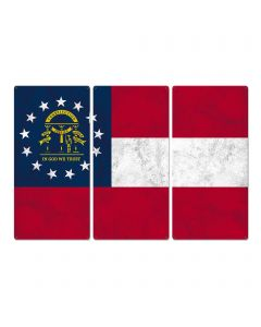 "Georgia State Flag, Georgia on my Mind, Triptych Metal Sign, Wall Decor, Wall Art, Vintage, 54""x36"""