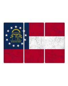 "Georgia State Flag, Georgia on my Mind, Triptych Metal Sign, Wall Decor, Wall Art, Vintage, 54""x36"""