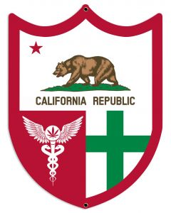 "California Flag, Green Cross, Medical Marijuana, Cannabis,  Shield, Wall Decor, Cannabis Dispensary Decor, Man Cave Sign, Metal Sign 18""x24"""