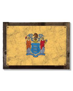 New Jersey State Flag, Liberty & Prosperity, Metal Sign, Optional Rustic Wood Frame, Wall Decor, Wall Art, Vintage, FREE SHIPPING!
