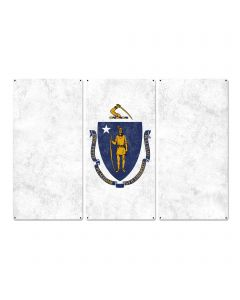 "Massachusetts State Flag,  The Spirit of America, Triptych Metal Sign, Wall Decor, Wall Art, Vintage, 54""x36"""