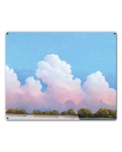 River And Sky Meet The Clouds Vintage Sign, Barn and Country, Metal Sign, Wall Art, 20 X 16 Inches