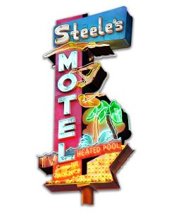 Steel's Motel Cut-out Vintage Sign, New Products, Metal Sign, Wall Art, 14 X 28 Inches