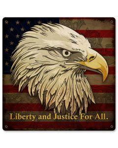 Liberty And Justice For All Vintage Sign, New Products, Metal Sign, Wall Art, 12 X 12 Inches