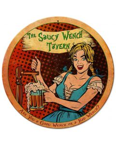 Saucy Wench Tavern Vintage Sign, New Products, Metal Sign, Wall Art, 14 X 14 Inches