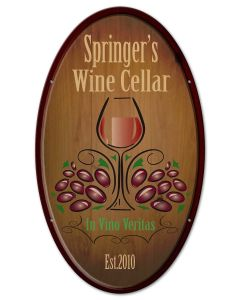 Wine Cellar Vintage Sign, New Products, Metal Sign, Wall Art, 14 X 24 Inches