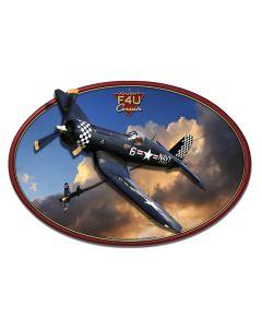 3-D Corsair F4U, 3-D, Metal Sign, Wall Art, 19 X 13 Inches