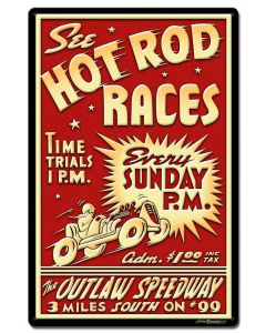1950's Hot Rod Races Vintage Sign, Automotive, Metal Sign, Wall Art, 16 X 24 Inches