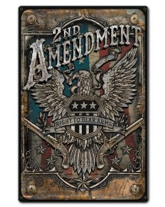 2Nd Amendment Vintage Sign, Patriotic, Metal Sign, Wall Art, 12 X 18 Inches