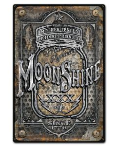 Moonshine Jar Vintage Sign, Bar and Alcohol , Metal Sign, Wall Art, 12 X 18 Inches