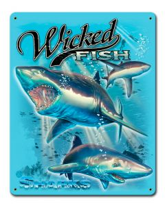 Sharks Wicked Fishing Vintage Sign, Barn and Country, Metal Sign, Wall Art, 12 X 15 Inches