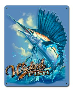 Sailfish Wicked Fishing Vintage Sign, Barn and Country, Metal Sign, Wall Art, 12 X 15 Inches