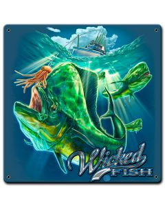 Fishing Mahi Wicked Fishing Vintage Sign, Barn and Country, Metal Sign, Wall Art, 12 X 12 Inches