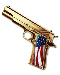 Golden Gun, Roadside Attractions, Metal Sign, Wall Art, 16 X 14 Inches