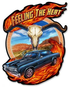 Hot Rod Steer Skull, Roadside Attractions, Metal Sign, Wall Art, 17 X 13 Inches