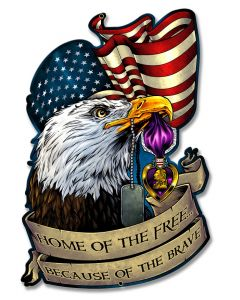 Purple Heart Eagle Flag, Roadside Attractions, Metal Sign, Wall Art, 13 X 20 Inches