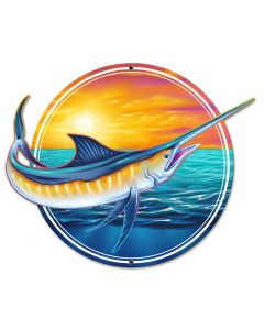 Marlin, Roadside Attractions, Metal Sign, Wall Art, 18 X 14 Inches