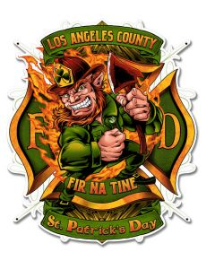 Leprechuan Fire Fighter Fir Na Tine Vintage Sign, Roadside Attractions, Metal Sign, Wall Art, 19 X 16 Inches