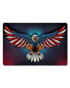 Eagle With US Flag Wings Vintage Sign, Roadside Attractions, Metal Sign, Wall Art, 12 X 18 Inches