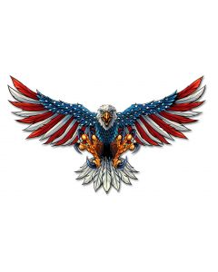 Eagle With US Flag Wings Spread Vintage Sign, Roadside Attractions, Metal Sign, Wall Art, 21 X 12 Inches