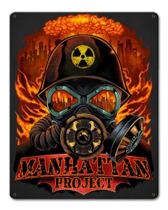 Manhattan Project Vintage Sign, Roadside Attractions, Metal Sign, Wall Art, 12 X 15 Inches