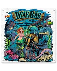 Dive Bar Vintage Sign, Roadside Attractions, Metal Sign, Wall Art, 12 X 12 Inches