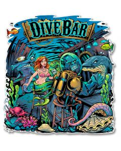 Dive Bar Vintage Sign, Roadside Attractions, Metal Sign, Wall Art, 16 X 14 Inches
