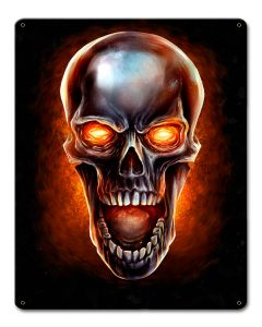 Glowing Metal Skull Vintage Sign, Roadside Attractions, Metal Sign, Wall Art, 12 X 15 Inches