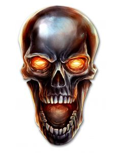 Glowing Metal Skull Vintage Sign, Roadside Attractions, Metal Sign, Wall Art, 20 X 11 Inches