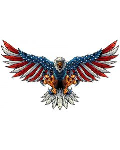 Eagle With US Flag Wing Spread Vintage Sign, Roadside Attractions, Metal Sign, Wall Art, 29 X 18 Inches