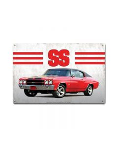 1970 Chevelle Ss Red, GMC, Metal Sign, Wall Art, 12 X 18 Inches