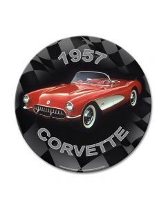 1957 Corvette, GMC, Metal Sign, Wall Art, 14 X 14 Inches