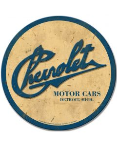 3-D Chevrolet Round, GMC, Metal Sign, Wall Art, 28 X 28 Inches
