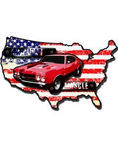 3-D American Muscle Map, GMC, Metal Sign, Wall Art, 30 X 20 Inches