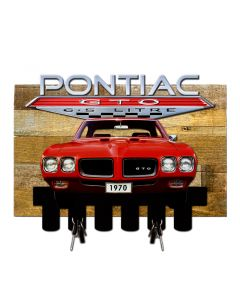 1970 Pontiac GTO Key Hanger on Wood Backing, GMC, Metal Sign, Wall Art, 16 X 10 Inches