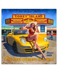 Coney Island, Pinup Girls, Metal Sign, Wall Art, 36 X 36 Inches
