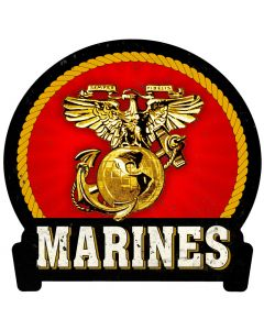 Marines, Military, Metal Sign, Wall Art, 16 X 15 Inches