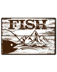 Fish, Barn and Country, Metal Sign, Wall Art, 36 X 24 Inches