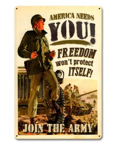 Join The Army Vintage Sign, Military, Metal Sign, Wall Art, 12 X 18 Inches