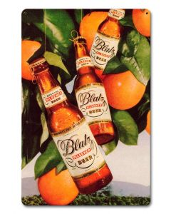 Blatz Beer Oranges Vintage Sign, Man Cave, Metal Sign, Wall Art, 12 X 18 Inches