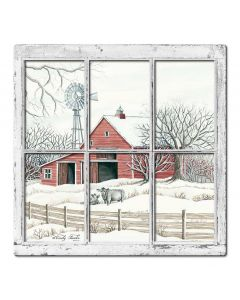 Winter Barn 10 3D Vintage Sign, Barn and Country, Metal Sign, Wall Art, 17 X 17 Inches