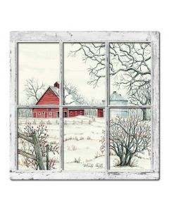 Winter Barn 9 3D Vintage Sign, Barn and Country, Metal Sign, Wall Art, 24 X 24 Inches