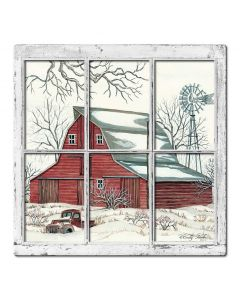 Winter Barn 11 3D Vintage Sign, Barn and Country, Metal Sign, Wall Art, 17 X 17 Inches