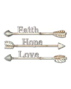 Arrows Faith Hope Love Vintage Sign, Ocean and Beach, Metal Sign, Wall Art, 14 X 8 Inches