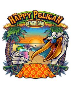 Happy Pelican Beach Bar Vintage Sign, Roadside Attractions, Metal Sign, Wall Art, 20 X 20 Inches