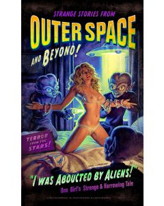 Alien Abduction Vintage Sign, Pinup Girls, Metal Sign, Wall Art, 8 X 14 Inches