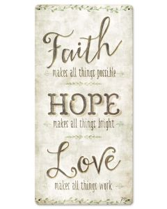 Faith Hope Love Vintage Sign, Ocean and Beach, Metal Sign, Wall Art, 12 X 24 Inches