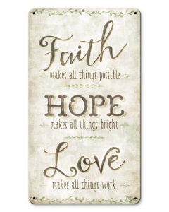 Faith Hope Love Vintage Sign, Ocean and Beach, Metal Sign, Wall Art, 8 X 14 Inches